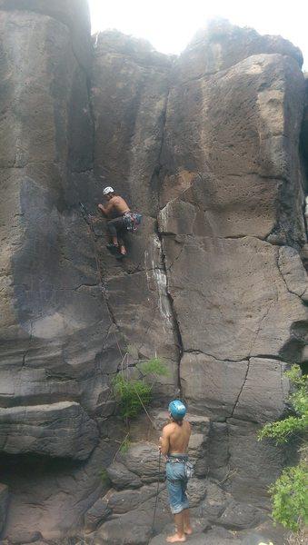 Daniel Ross climbing Z Crack