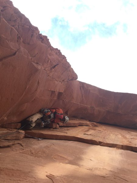 Rock Climbing Photo: The beginning of P2 - A dirty, overhung dihedral, ...