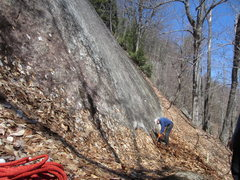 Rock Climbing Photo: Leaves had collected and covered about 1-3 feet of...