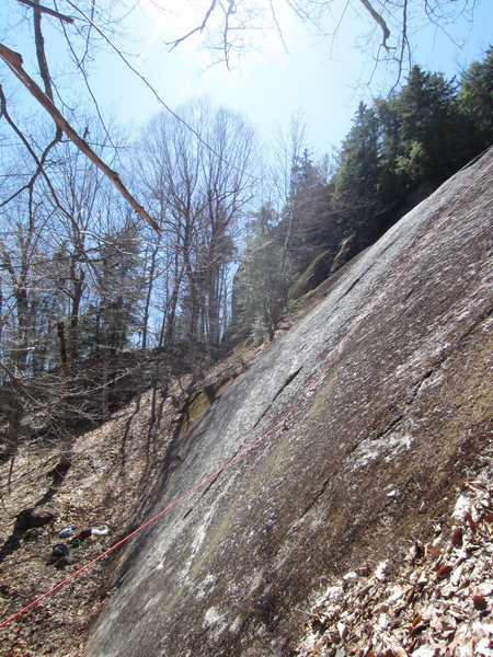 On far right of slab looking across to rest of routes towards the Lumberjack Wall