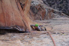 Rock Climbing Photo: Guy on the second red dihedral pitch