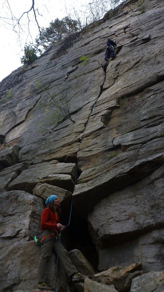 Getting some good gear after the wide crack crux.  #3 was the biggest I had this day.