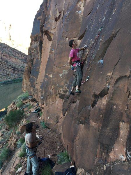 Rock Climbing Photo: Lucsauce dispatching as the giant mosquito buzzes....