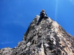 Rock Climbing Photo: Carol sussing out the last and crux pitch of the S...
