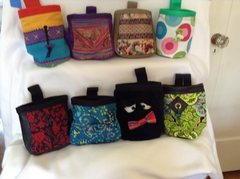 A range of chalkbags,  $20 to $25 depending whether or not they have a zippered pocket.
