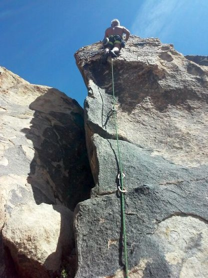Pete nearing the anchors on Mojave Green Arete (5.6), The Cemetery