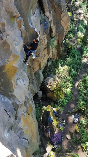 Kyle Terry battles the first crux.