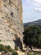 Climbing toprope in the vicinity of Cala Gorone, Sardinia, Italy.