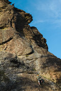 Rock Climbing Photo: Bob on lead above chimney, belaying me on first pi...