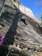 Rock Climbing Photo: Quercus Rubra-P1, almost through crux mantle Do Th...