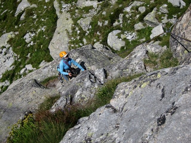 Coming up the first pitch on the SW Arête