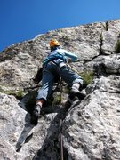 Rock Climbing Photo: Carol gets the rope up there on the second pitch o...