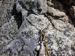 Rock Climbing Photo: Pinch belay anchor on pitch 5 of the SW Arête