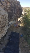 Rock Climbing Photo: Mumbs working on the start.