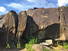 Rock Climbing Photo: A) Sharpie V2 B) Bear Hug V4 C) Bud Crack V3