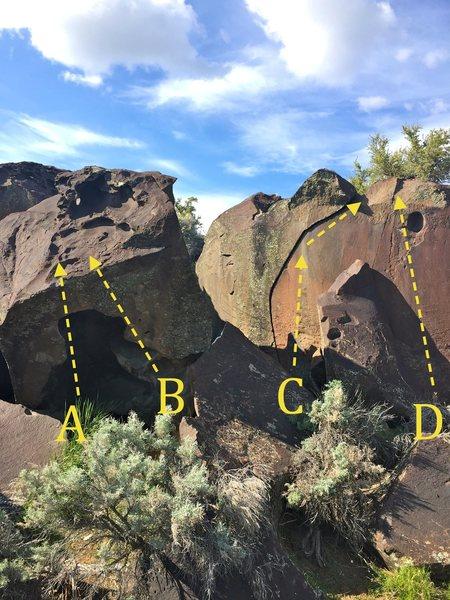 A) Monkey Hole Left V2<br> B) Monkey Hole Right V3<br> C) Splitter Crack V0-V7?<br> D) Consolation Prize V2