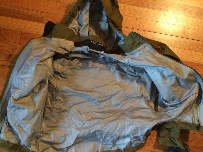 Inside of arc'teryx jacket