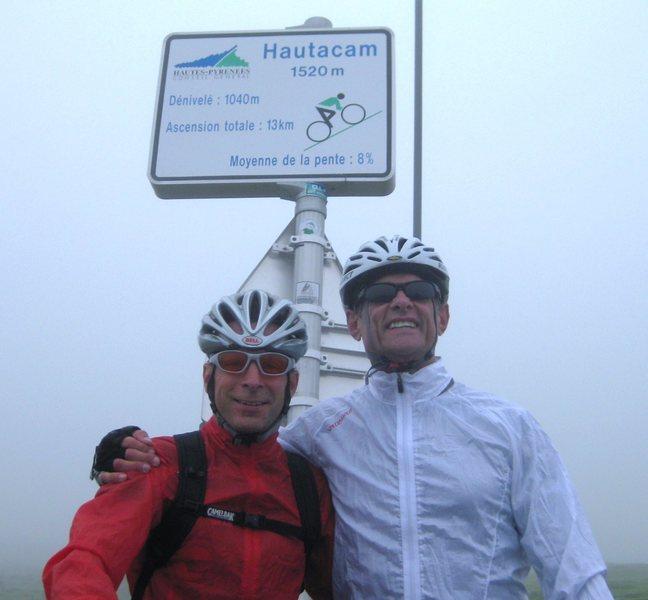 Le Tour de France trip, 2010. Late friend Lee and I atop famed Hautacam climb in Pyrenees.