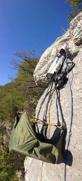 Rock Climbing Photo: Hammock on the wall. Not really leveled..