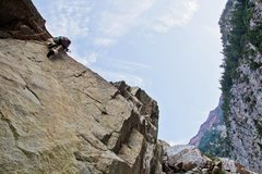 Rock Climbing Photo: On the FA in 2012. Tanners is narrow enough you do...