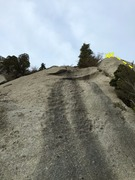 Rock Climbing Photo: Looking up Gumbyland. The chains are lookers right...