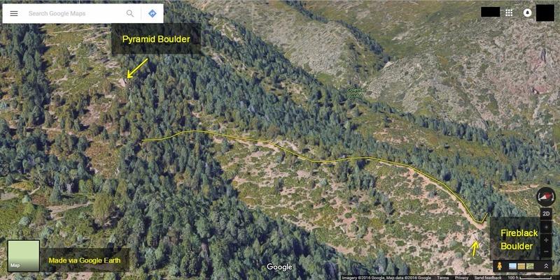 [[Pyramid Boulder]]110313061 Location relative to [[Fireblack Boulder]]106396162.<br> <br> Via Google Earth.