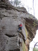 Rock Climbing Photo: Joe midway up