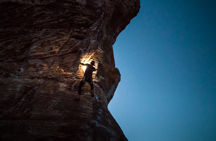 Night climber in Red Rocks