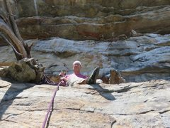 Rock Climbing Photo: The vulture-shit covered GT ledge at the top of Wo...