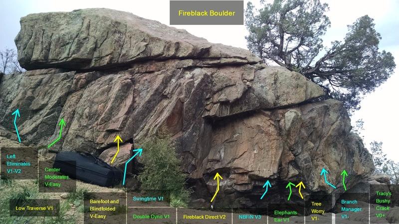 Fireblack Boulder:<br> <br> [[Low Traverse, V1]]106396220.<br> [[Left Eliminates, V1-V2]]106396226.<br> [[Center Moderates, V-Easy]]106396249.<br> [[Barefoot and Blindfolded, V-Easy]]106396186.<br> [[Swingtime, V1]]106396394.<br> [[Double Dyno, V1]]106396241.<br> [[Fireblack Direct, V2]]106396204.<br> [[NBFiN, V3]]106396191.<br> [[Elephant's Ear, V1]]106396174.<br> [[Tree Worry, V1-]]106396235.<br> [[Branch Manager V1-]]106840995.<br> [[Tracy's Bushy Crack, V0+]]106396229.