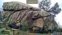 Rock Climbing Photo: Fireblack Boulder:  Low Traverse, V1. Left Elimina...
