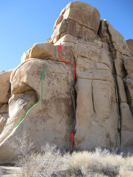 This route climbs up along the red line in the photo. The crux is on the short face at the top, by a bolt.