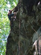Rock Climbing Photo: Kevin pulling past the first crux and starting the...