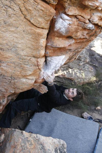 Rock Climbing Photo: Warren Schaefer powers his way up One.