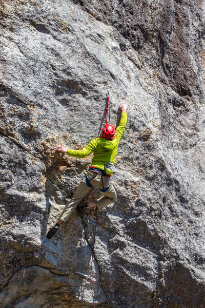 Rock Climbing Photo: Sticking the upper crux. Photo by Jordan Cargill