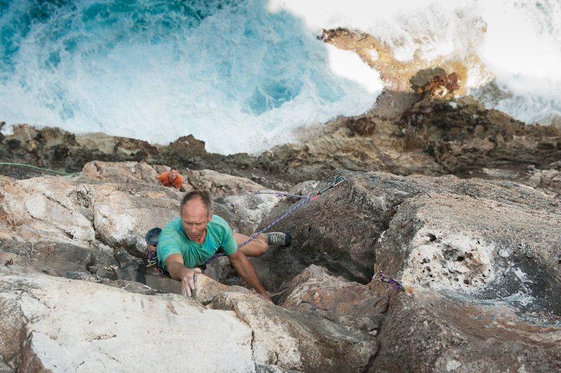 Rock Climbing Photo: Climbing directly over the ocean on Holy Huecos!