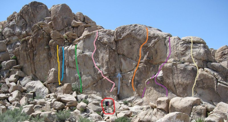 Whispers climbs roughly along the yellow line in the photo topo.