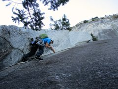 Rock Climbing Photo: John starting up Pitch 2 of Apron Strings.