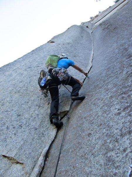 Rock Climbing Photo: John starting up the Split Pillar. Amazing pitch!