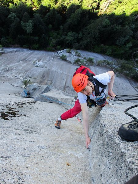 Climber leading the Sword pitch. He's looking pretty comfortable for this being a crux section!