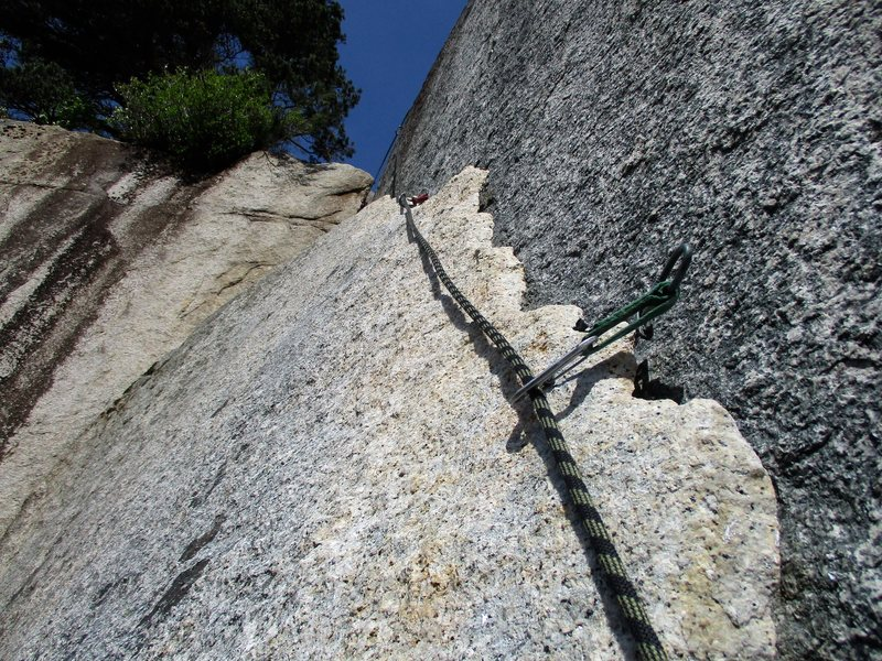 The final bit of climbing across the top of the Seal Flake. After this, a few feet to Bellygood Ledge!