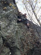 Rock Climbing Photo: toping out the flakes, need a good cleaning but fu...