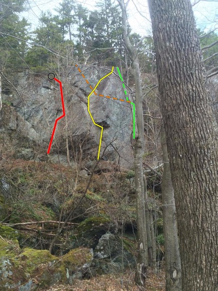 The Yawn Wall:<br> Fixie Six in red<br> The Incredible Walk in yellow<br> The Prow in green<br> Connors Cave in orange