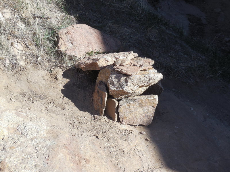 Stone bench constructed by a climber/spectator at the base of the Heart Wall.