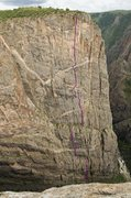 Rock Climbing Photo: A photo showing the whole route, as viewed from th...
