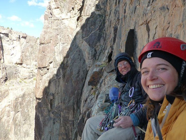 Bo and Kelsey Bohanon on the belay ledge of pitch 10.