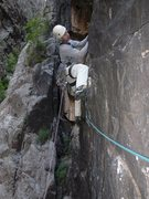 Rock Climbing Photo: Terry Murphy at the start of pitch 2, as it branch...