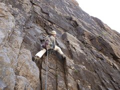 Rock Climbing Photo: Terry Murphy styling up the start of pitch 4, to t...