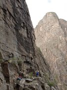Rock Climbing Photo: On the Veranda, looking right to the start of pitc...
