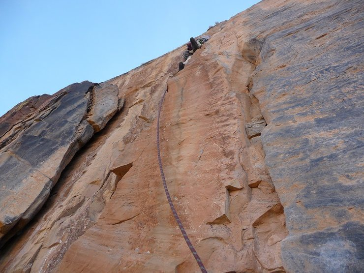 Rock Climbing Photo: Murphy, fully engaged on the beautiful golden rock...